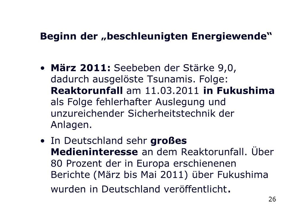 """Beginn der """"beschleunigten Energiewende"""" März 2011: Seebeben der Stärke 9,0, dadurch ausgelöste Tsunamis. Folge: Reaktorunfall am 11.03.2011 in Fukush"""