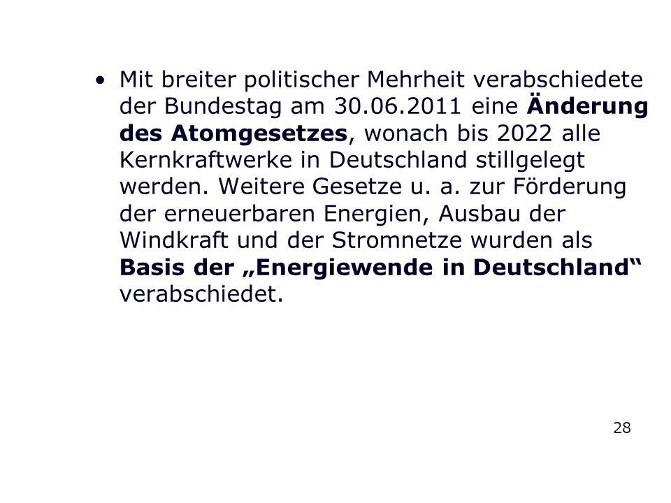 Mit breiter politischer Mehrheit verabschiedete der Bundestag am 30.06.2011 eine Änderung des Atomgesetzes, wonach bis 2022 alle Kernkraftwerke in Deu