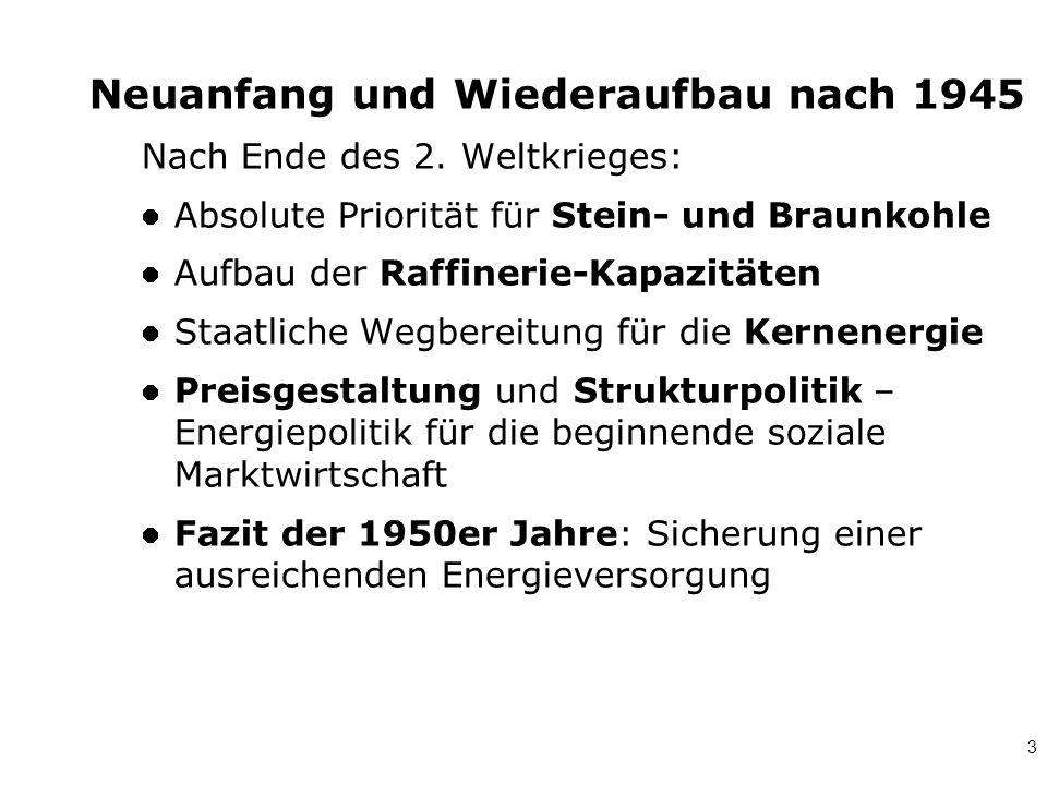 3 Neuanfang und Wiederaufbau nach 1945 Nach Ende des 2. Weltkrieges: Absolute Priorität für Stein- und Braunkohle Aufbau der Raffinerie-Kapazitäten St