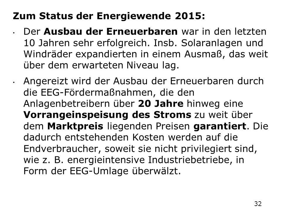 Zum Status der Energiewende 2015: Der Ausbau der Erneuerbaren war in den letzten 10 Jahren sehr erfolgreich. Insb. Solaranlagen und Windräder expandie