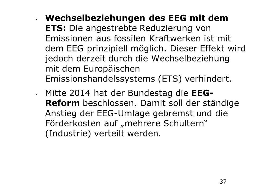 Wechselbeziehungen des EEG mit dem ETS: Die angestrebte Reduzierung von Emissionen aus fossilen Kraftwerken ist mit dem EEG prinzipiell möglich. Diese