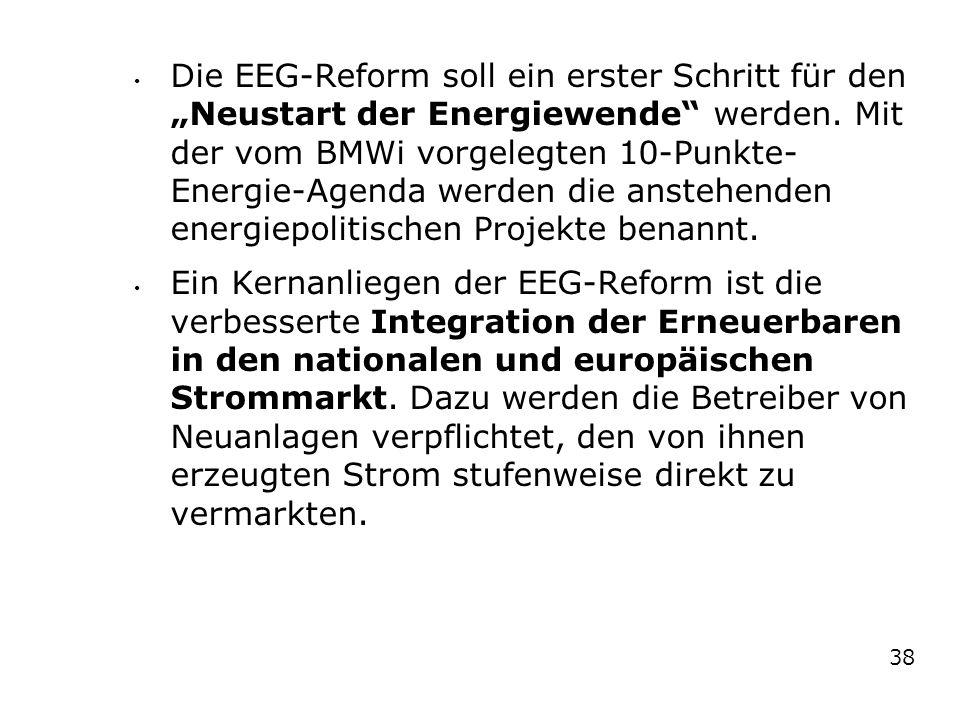 """Die EEG-Reform soll ein erster Schritt für den """"Neustart der Energiewende"""" werden. Mit der vom BMWi vorgelegten 10-Punkte- Energie-Agenda werden die a"""