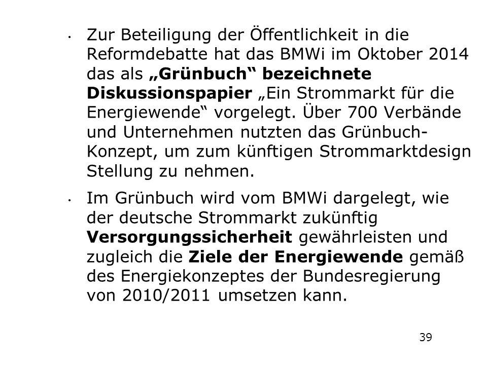 """Zur Beteiligung der Öffentlichkeit in die Reformdebatte hat das BMWi im Oktober 2014 das als """"Grünbuch"""" bezeichnete Diskussionspapier """"Ein Strommarkt"""
