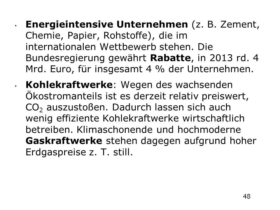 Energieintensive Unternehmen (z. B. Zement, Chemie, Papier, Rohstoffe), die im internationalen Wettbewerb stehen. Die Bundesregierung gewährt Rabatte,