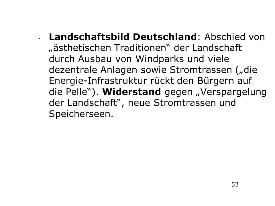"""Landschaftsbild Deutschland: Abschied von """"ästhetischen Traditionen"""" der Landschaft durch Ausbau von Windparks und viele dezentrale Anlagen sowie Stro"""