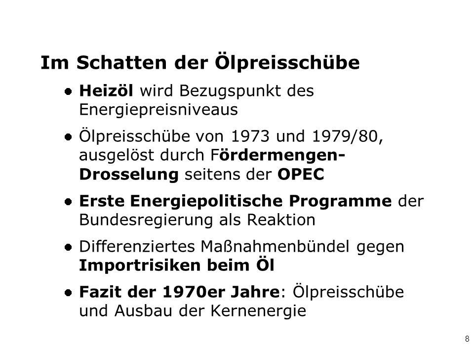 8 Im Schatten der Ölpreisschübe Heizöl wird Bezugspunkt des Energiepreisniveaus Ölpreisschübe von 1973 und 1979/80, ausgelöst durch Fördermengen- Dros