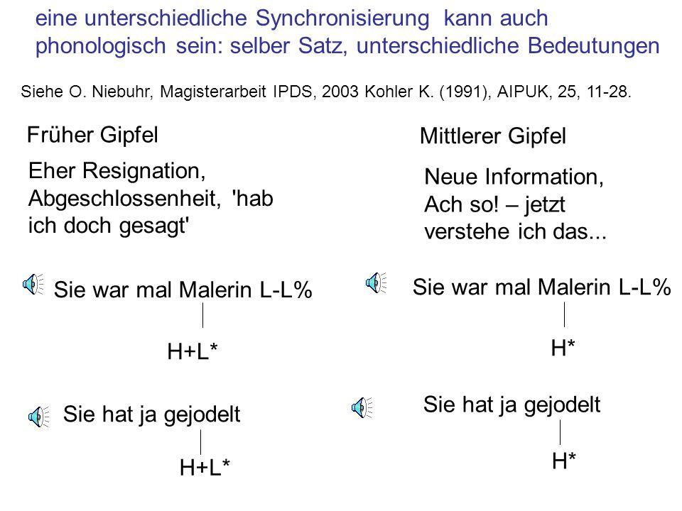 eine unterschiedliche Synchronisierung kann auch Dialekt-spezifisch sein… Kiel: H+L* L-L% Süddeutsch hat grundsätzlich spätere Gipfel im Vergleich zu Standarddeutsch Wien: L*+H L-L% [e:] Mehl