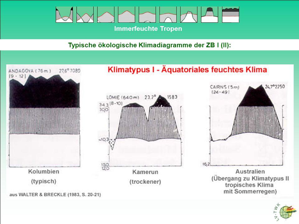 Immerfeuchte Tropen Typische ökologische Klimadiagramme der ZB I (II):