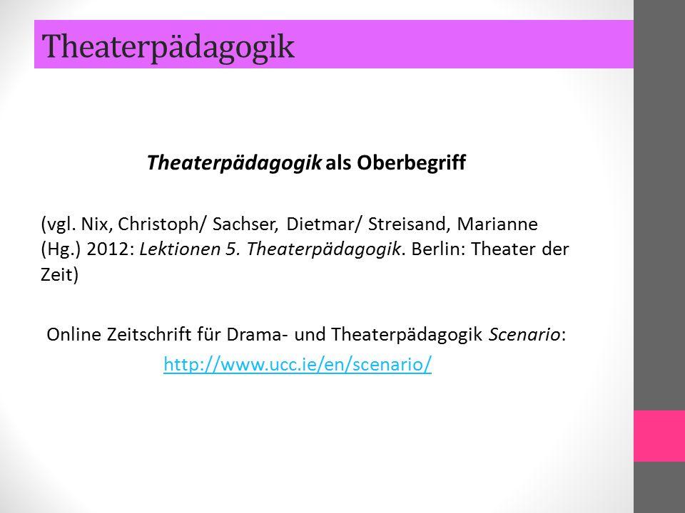 Theaterpädagogik als Oberbegriff (vgl. Nix, Christoph/ Sachser, Dietmar/ Streisand, Marianne (Hg.) 2012: Lektionen 5. Theaterpädagogik. Berlin: Theate