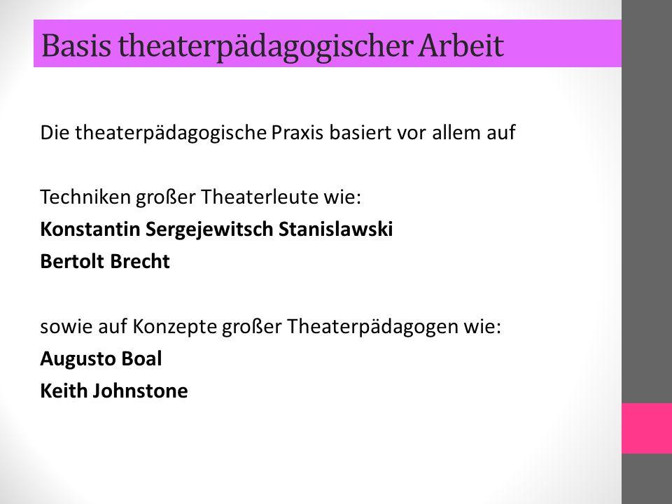Die theaterpädagogische Praxis basiert vor allem auf Techniken großer Theaterleute wie: Konstantin Sergejewitsch Stanislawski Bertolt Brecht sowie auf