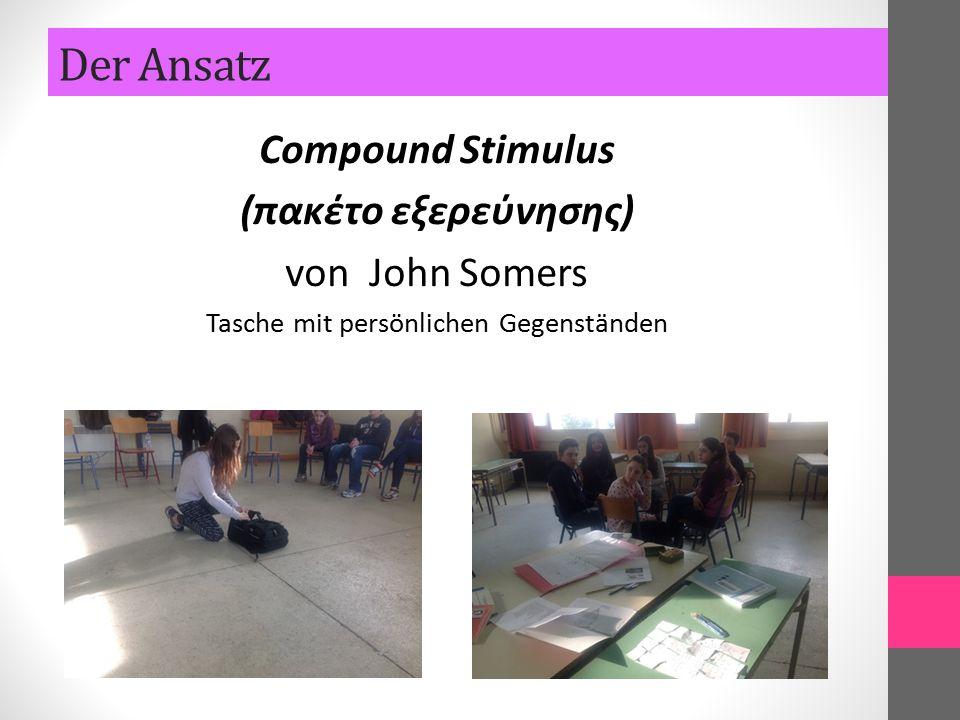 Compound Stimulus (πακέτο εξερεύνησης) von John Somers Tasche mit persönlichen Gegenständen Der Ansatz