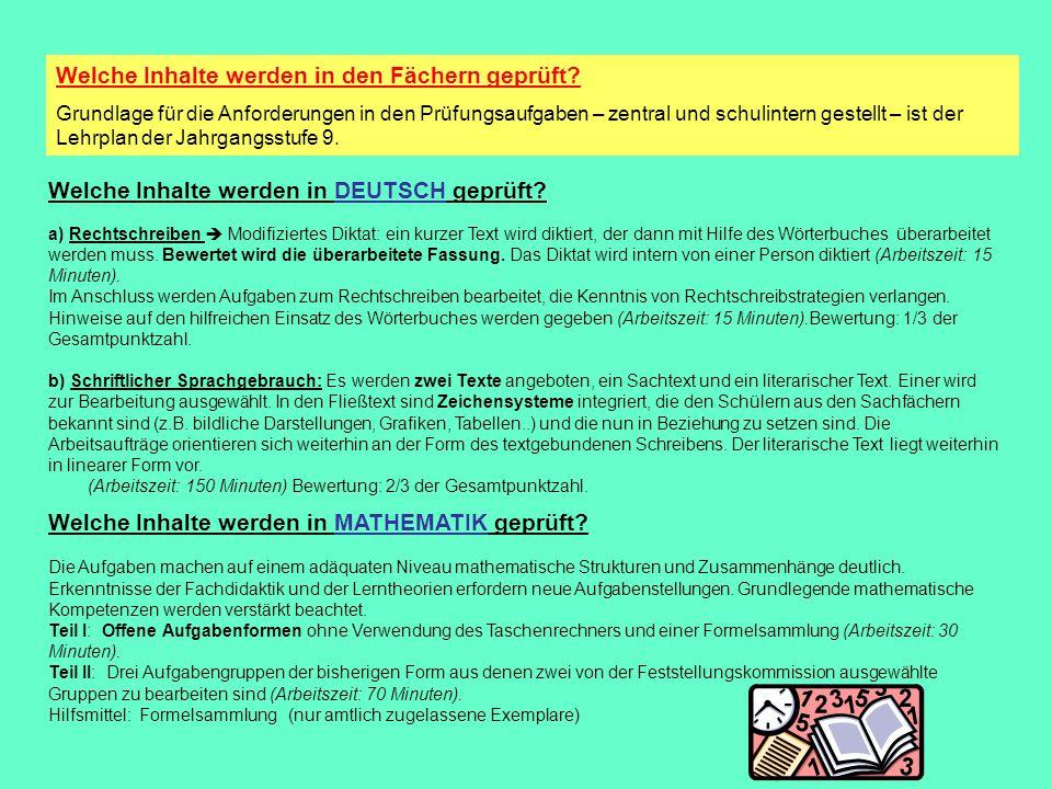 Welche Inhalte werden in ENGLISCH geprüft.Die Lehrpläne der 9.