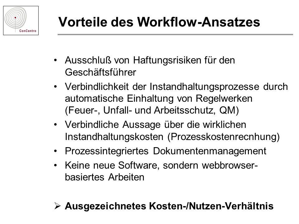 Vorteile des Workflow-Ansatzes Ausschluß von Haftungsrisiken für den Geschäftsführer Verbindlichkeit der Instandhaltungsprozesse durch automatische Ei