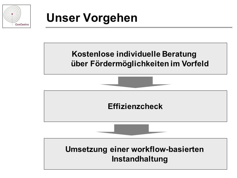 Unser Vorgehen Kostenlose individuelle Beratung über Fördermöglichkeiten im Vorfeld Effizienzcheck Umsetzung einer workflow-basierten Instandhaltung