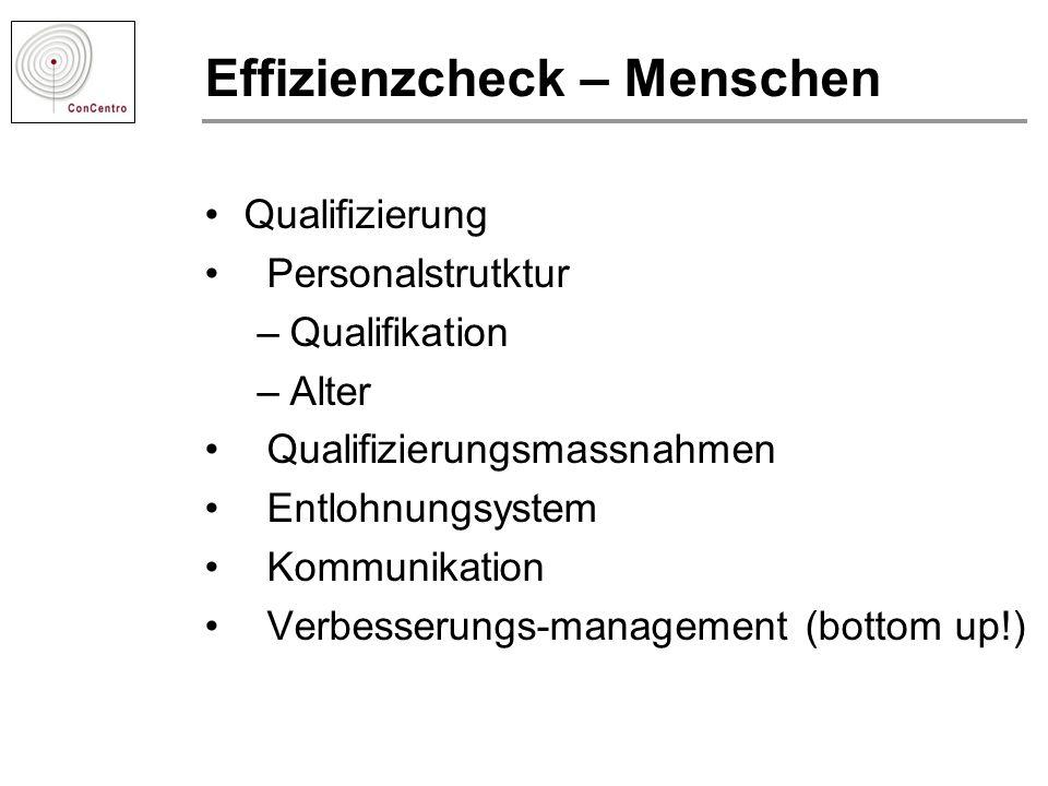 Effizienzcheck – Menschen Qualifizierung Personalstrutktur –Qualifikation –Alter Qualifizierungsmassnahmen Entlohnungsystem Kommunikation Verbesserung