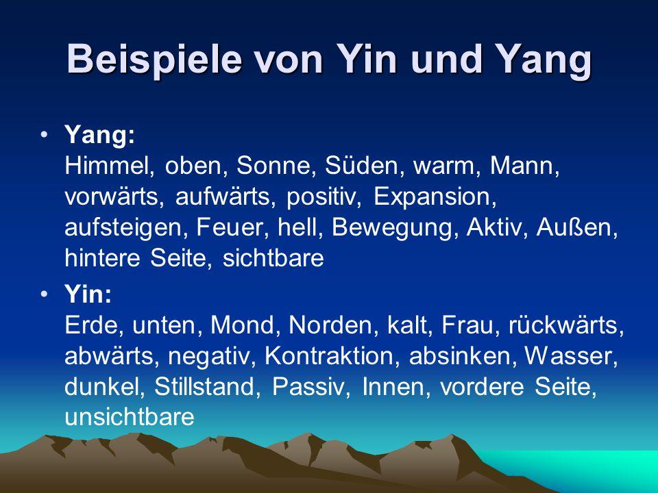 Beispiele von Yin und Yang Yang: Himmel, oben, Sonne, Süden, warm, Mann, vorwärts, aufwärts, positiv, Expansion, aufsteigen, Feuer, hell, Bewegung, Ak