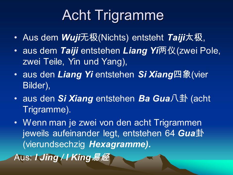 Acht Trigramme Aus dem Wuji 无极 (Nichts) entsteht Taiji 太极, aus dem Taiji entstehen Liang Yi 两仪 (zwei Pole, zwei Teile, Yin und Yang), aus den Liang Yi