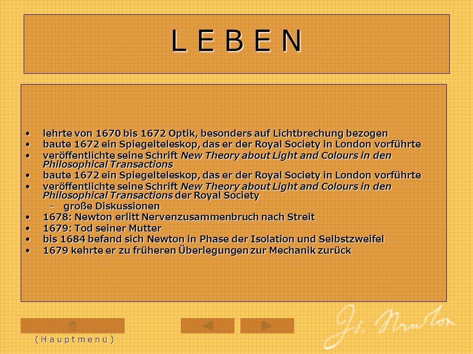 L E B E N lehrte von 1670 bis 1672 Optik, besonders auf Lichtbrechung bezogenlehrte von 1670 bis 1672 Optik, besonders auf Lichtbrechung bezogen baute