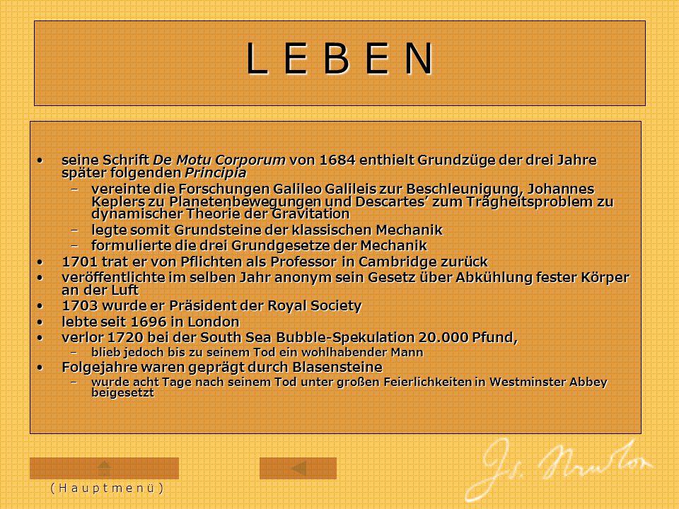 N E W T O N S C H E G E S E T Z E ( H a u p t m e n ü ) E R S T E S E R S T E S D R I T E S D R I T E S Z W E I T E S Z W E I T E S 1687 erschien Isaac Newtons Werk Philosophiae Naturalis Principia Mathematica1687 erschien Isaac Newtons Werk Philosophiae Naturalis Principia Mathematica  Mathematische Prinzipien der Naturphilosophie drei Grundsätze (Gesetze) der Bewegung:drei Grundsätze (Gesetze) der Bewegung: –als newtonsche Axiome, Grundgesetze der Bewegung, newtonsche Prinzipien oder auch newtonsche Gesetze bekannt –werden in Newtons Werk mit Lex prima, Lex secunda und Lex tertia bezeichnet Gesetze bilden Fundament der klassischen MechanikGesetze bilden Fundament der klassischen Mechanik werden heute nicht mehr als Axiome angesehenwerden heute nicht mehr als Axiome angesehen  weil sie sich als Folgerungen aus moderneren Grundsätzen, die über klassische newtonsche Physik hinausgehen ableiten lassen