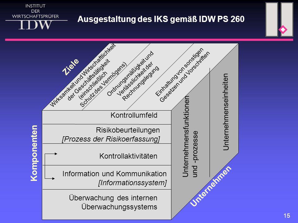 15 Kontrollumfeld Risikobeurteilungen [Prozess der Risikoerfassung] Kontrollaktivitäten Information und Kommunikation [Informationssystem] Überwachung