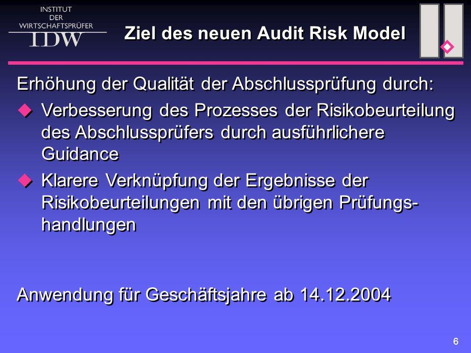 6 Ziel des neuen Audit Risk Model Erhöhung der Qualität der Abschlussprüfung durch:  Verbesserung des Prozesses der Risikobeurteilung des Abschlusspr