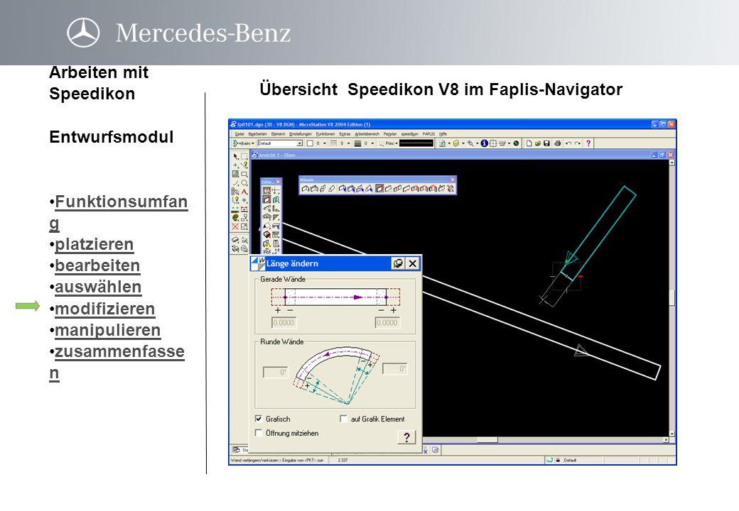 Übersicht Speedikon V8 im Faplis-Navigator Arbeiten mit Speedikon Entwurfsmodul Funktionsumfan gFunktionsumfan g platzieren bearbeiten auswählen modif