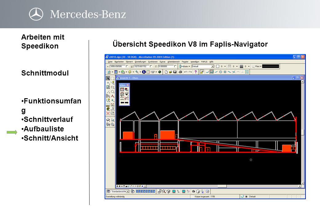 Übersicht Speedikon V8 im Faplis-Navigator Arbeiten mit Speedikon Schnittmodul Funktionsumfan gFunktionsumfan g Schnittverlauf Aufbauliste Schnitt/Ans