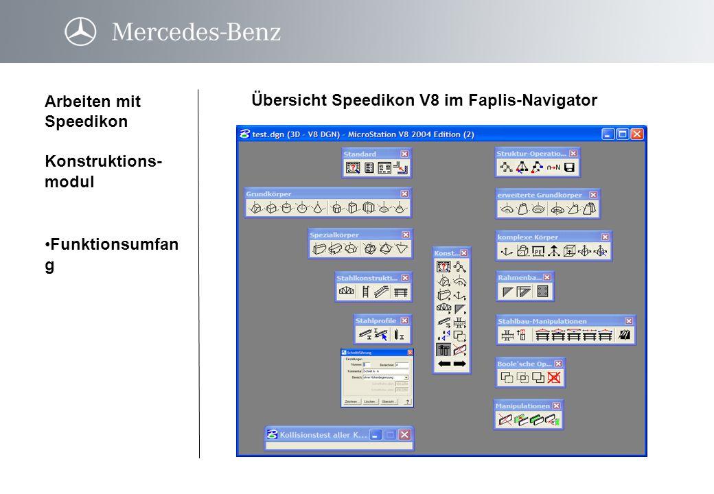 Übersicht Speedikon V8 im Faplis-Navigator Arbeiten mit Speedikon Konstruktions- modul Funktionsumfan gFunktionsumfan g