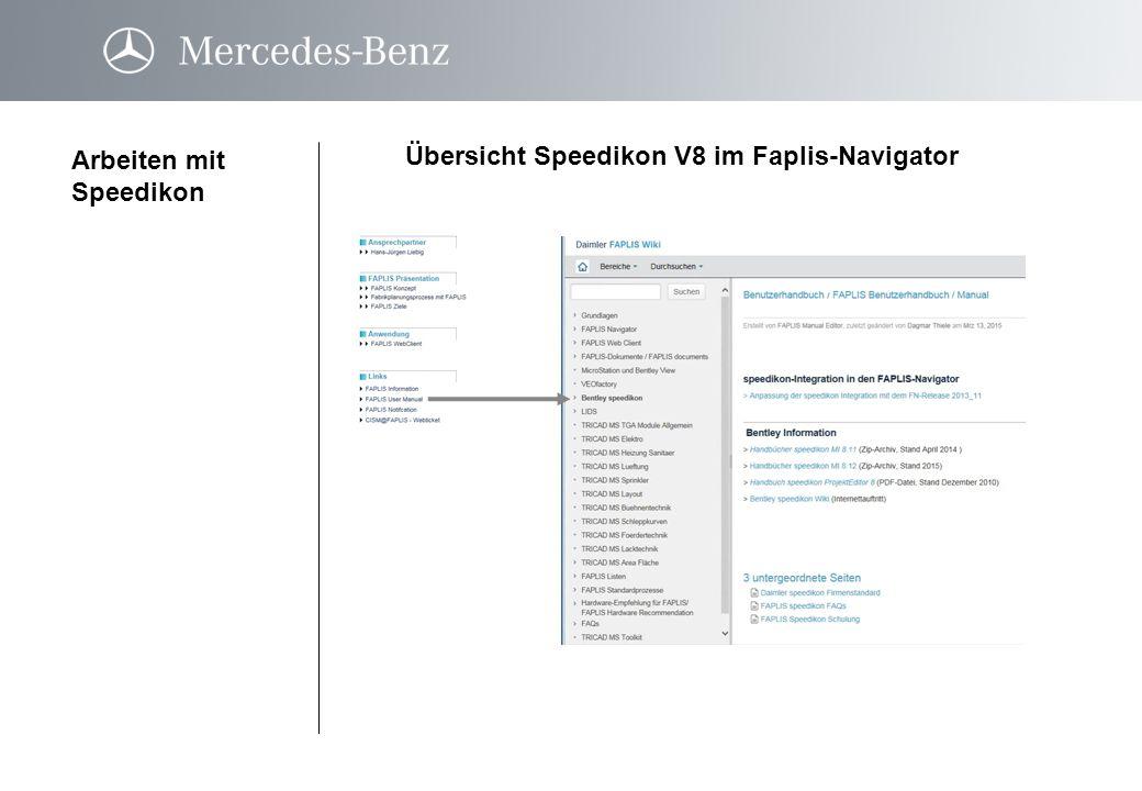 Übersicht Speedikon V8 im Faplis-Navigator Arbeiten mit Speedikon Planmodul Funktionsumfan gFunktionsumfan g