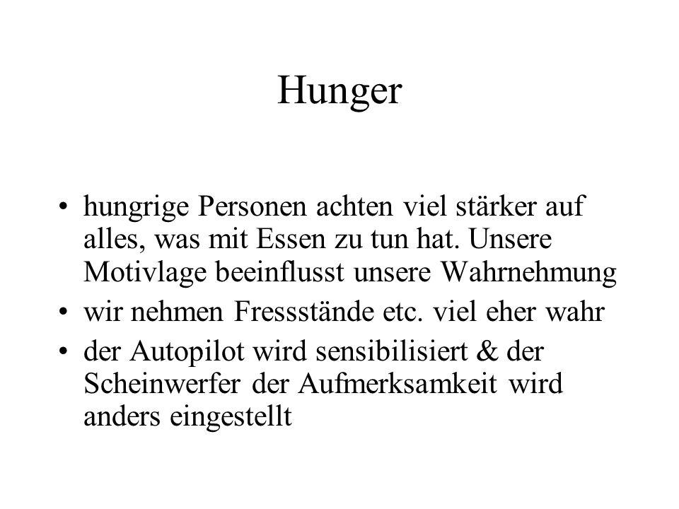 Hunger hungrige Personen achten viel stärker auf alles, was mit Essen zu tun hat. Unsere Motivlage beeinflusst unsere Wahrnehmung wir nehmen Fressstän
