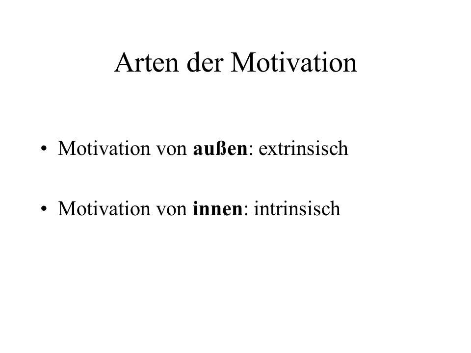 Arten der Motivation Motivation von außen: extrinsisch Motivation von innen: intrinsisch