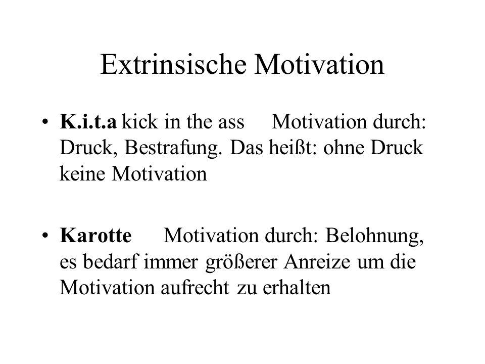 Extrinsische Motivation K.i.t.a kick in the ass Motivation durch: Druck, Bestrafung. Das heißt: ohne Druck keine Motivation Karotte Motivation durch: