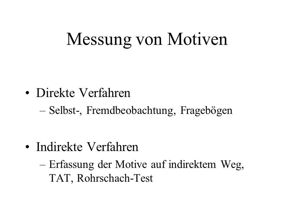 Messung von Motiven Direkte Verfahren –Selbst-, Fremdbeobachtung, Fragebögen Indirekte Verfahren –Erfassung der Motive auf indirektem Weg, TAT, Rohrsc