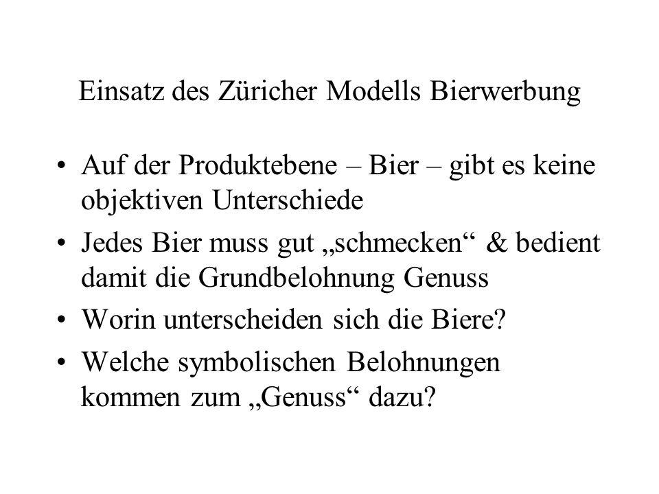 """Einsatz des Züricher Modells Bierwerbung Auf der Produktebene – Bier – gibt es keine objektiven Unterschiede Jedes Bier muss gut """"schmecken"""" & bedient"""