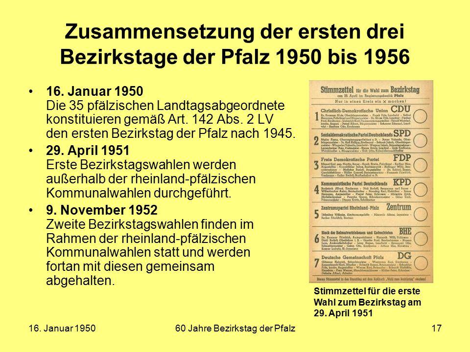 16. Januar 195060 Jahre Bezirkstag der Pfalz17 Zusammensetzung der ersten drei Bezirkstage der Pfalz 1950 bis 1956 16. Januar 1950 Die 35 pfälzischen