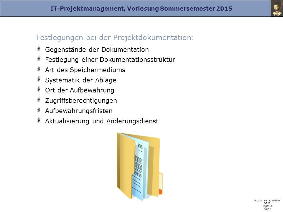 IT-Projektmanagement, Vorlesung Sommersemester 2015 Prof.