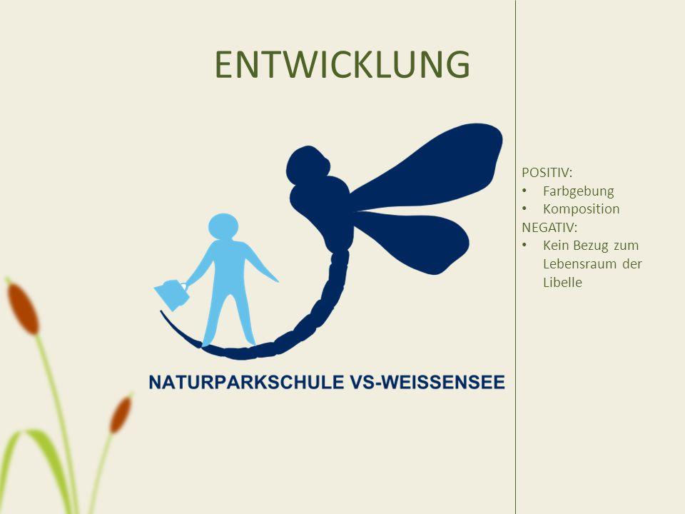 ENTWICKLUNG POSITIV: Farbgebung Komposition NEGATIV: Kein Bezug zum Lebensraum der Libelle