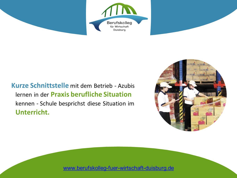 Kurze Schnittstelle mit dem Betrieb - Azubis lernen in der Praxis berufliche Situation kennen - Schule besprichst diese Situation im Unterricht. www.b