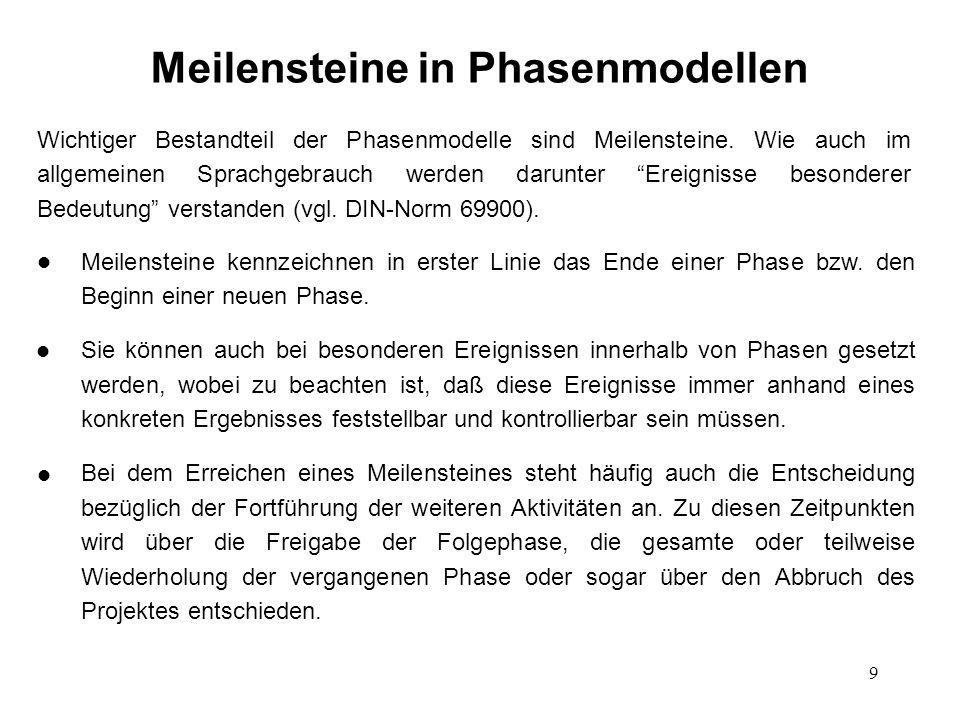 9 Meilensteine in Phasenmodellen Meilensteine kennzeichnen in erster Linie das Ende einer Phase bzw.