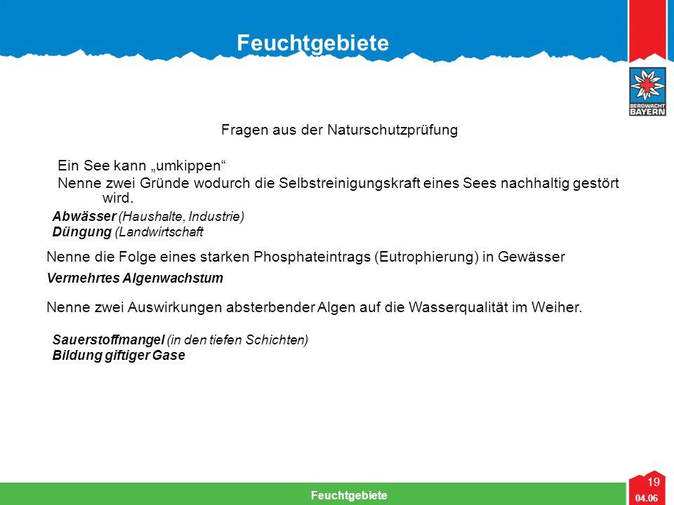 """19 04.06 Feuchtgebiete Fragen aus der Naturschutzprüfung Ein See kann """"umkippen Nenne zwei Gründe wodurch die Selbstreinigungskraft eines Sees nachhaltig gestört wird."""
