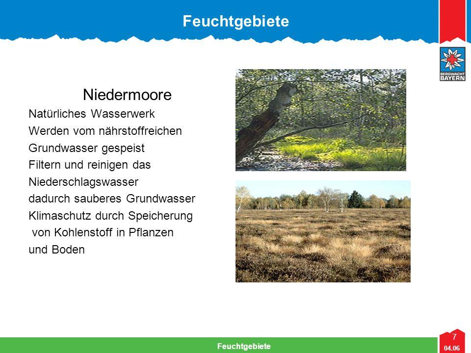 7 04.06 Feuchtgebiete Lehrteam Bergwacht Viechtach Feuchtgebiete Niedermoore Natürliches Wasserwerk Werden vom nährstoffreichen Grundwasser gespeist F
