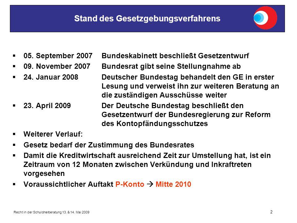 Recht in der Schuldnerberatung 13. & 14. Mai 2009 2 Stand des Gesetzgebungsverfahrens  05. September 2007Bundeskabinett beschließt Gesetzentwurf  09
