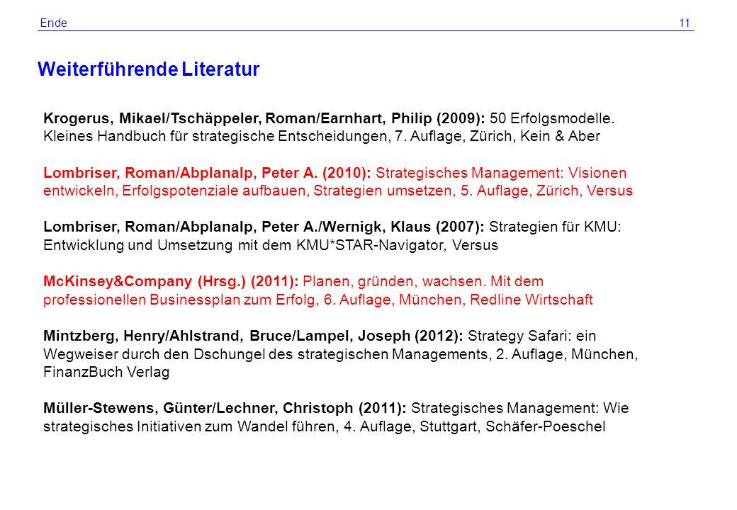 © 2012 by R. Grünig 11 Weiterführende Literatur Ende Krogerus, Mikael/Tschäppeler, Roman/Earnhart, Philip (2009): 50 Erfolgsmodelle. Kleines Handbuch