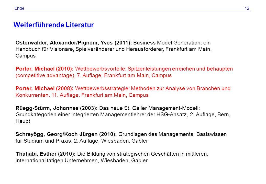 © 2012 by R. Grünig 12 Weiterführende Literatur Ende Osterwalder, Alexander/Pigneur, Yves (2011): Business Model Generation: ein Handbuch für Visionär