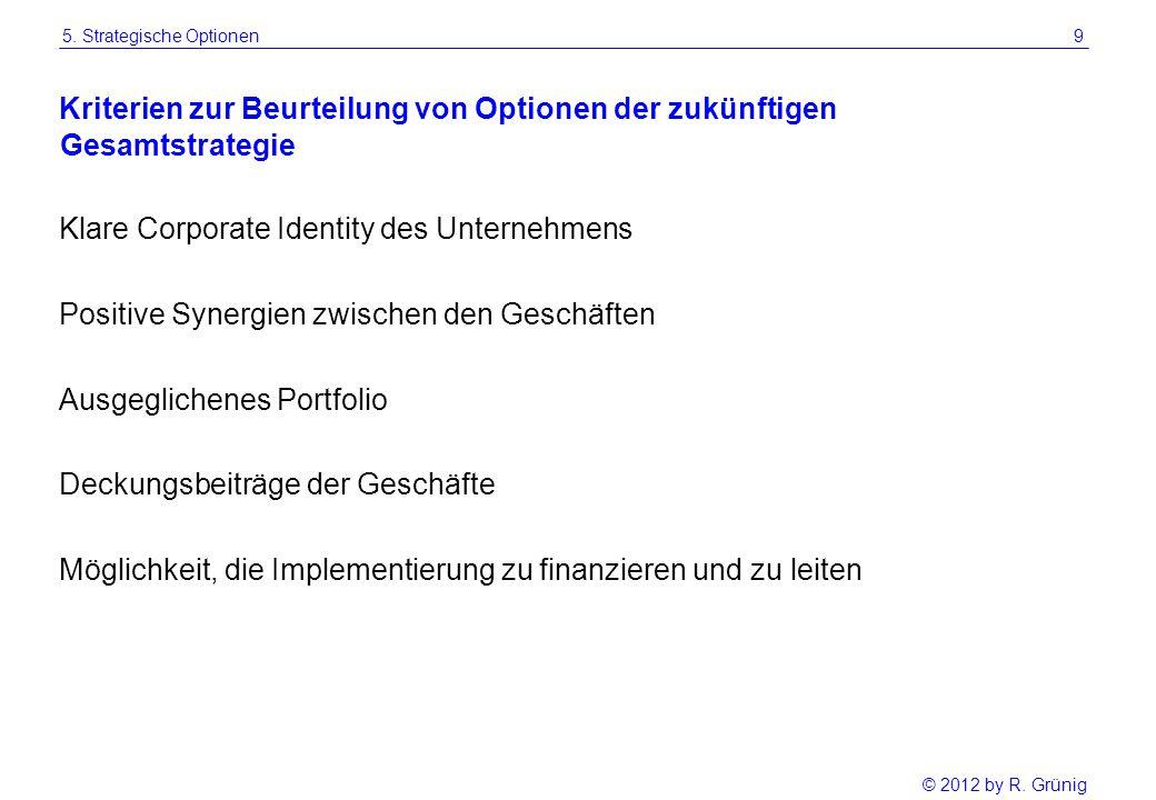 © 2012 by R. Grünig 9 Kriterien zur Beurteilung von Optionen der zukünftigen Klare Corporate Identity des Unternehmens Positive Synergien zwischen den