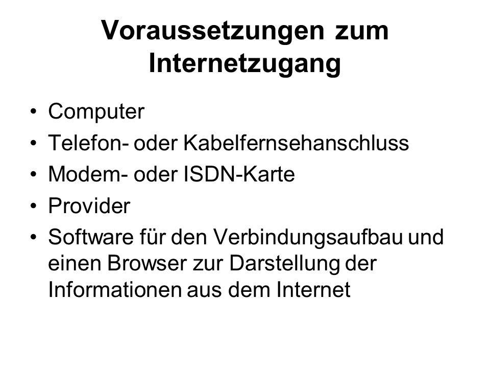 Voraussetzungen zum Internetzugang Computer Telefon- oder Kabelfernsehanschluss Modem- oder ISDN-Karte Provider Software für den Verbindungsaufbau und einen Browser zur Darstellung der Informationen aus dem Internet
