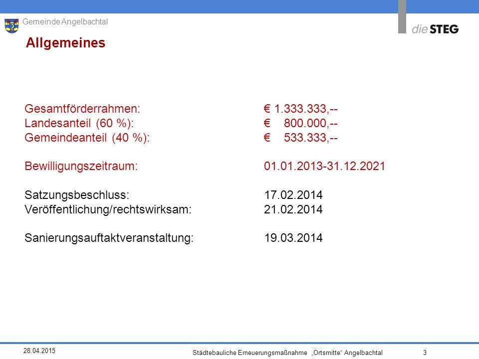 """28.04.2015 Städtebauliche Erneuerungsmaßnahme """"Ortsmitte Angelbachtal 3 Gemeinde Angelbachtal Allgemeines Gesamtförderrahmen:€ 1.333.333,-- Landesanteil (60 %):€ 800.000,-- Gemeindeanteil (40 %):€ 533.333,-- Bewilligungszeitraum: 01.01.2013-31.12.2021 Satzungsbeschluss:17.02.2014 Veröffentlichung/rechtswirksam:21.02.2014 Sanierungsauftaktveranstaltung:19.03.2014"""