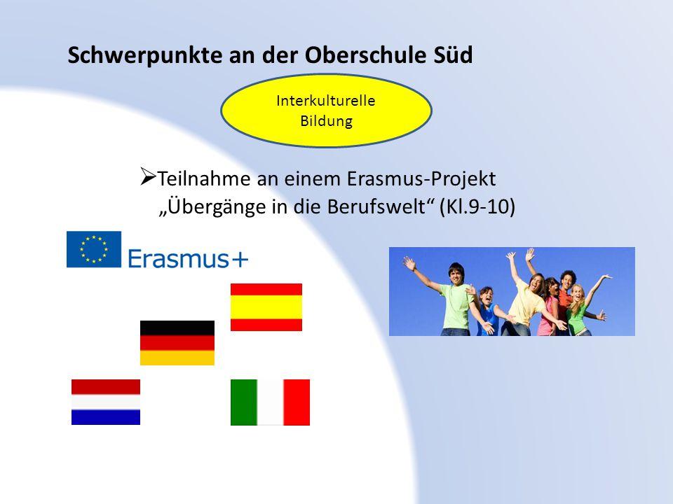"""Schwerpunkte an der Oberschule Süd  Teilnahme an einem Erasmus-Projekt """"Übergänge in die Berufswelt"""" (Kl.9-10) Interkulturelle Bildung"""