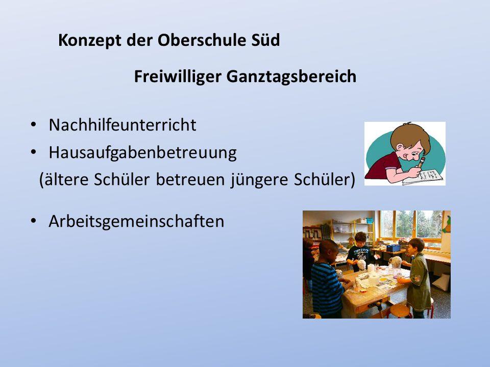 Freiwilliger Ganztagsbereich Nachhilfeunterricht Hausaufgabenbetreuung (ältere Schüler betreuen jüngere Schüler) Konzept der Oberschule Süd Arbeitsgem