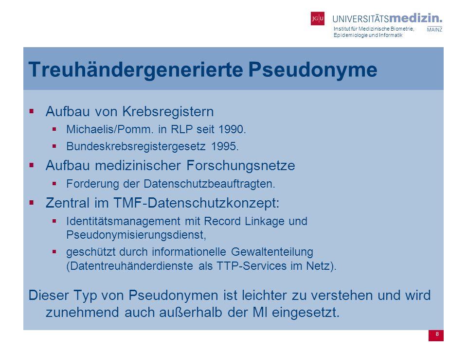 Institut für Medizinische Biometrie, Epidemiologie und Informatik 8 Treuhändergenerierte Pseudonyme  Aufbau von Krebsregistern  Michaelis/Pomm.